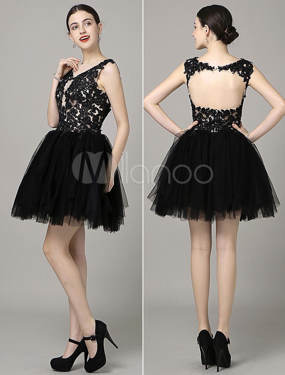Buy Black Prom Dresses 2018 Short Backless Prom Dress A Line Lace Applique Beading Plunging Tulle Mini Cocktail Dress Milanoo for $141.29 in Milanoo store