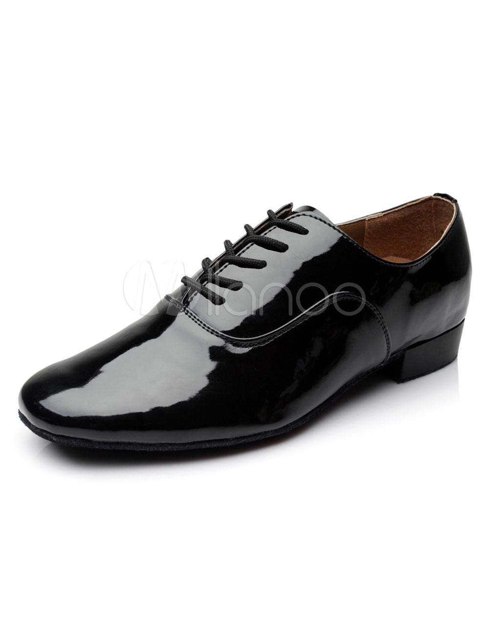 Black Dance Shoes Lace Up Patent PU Flats for Men