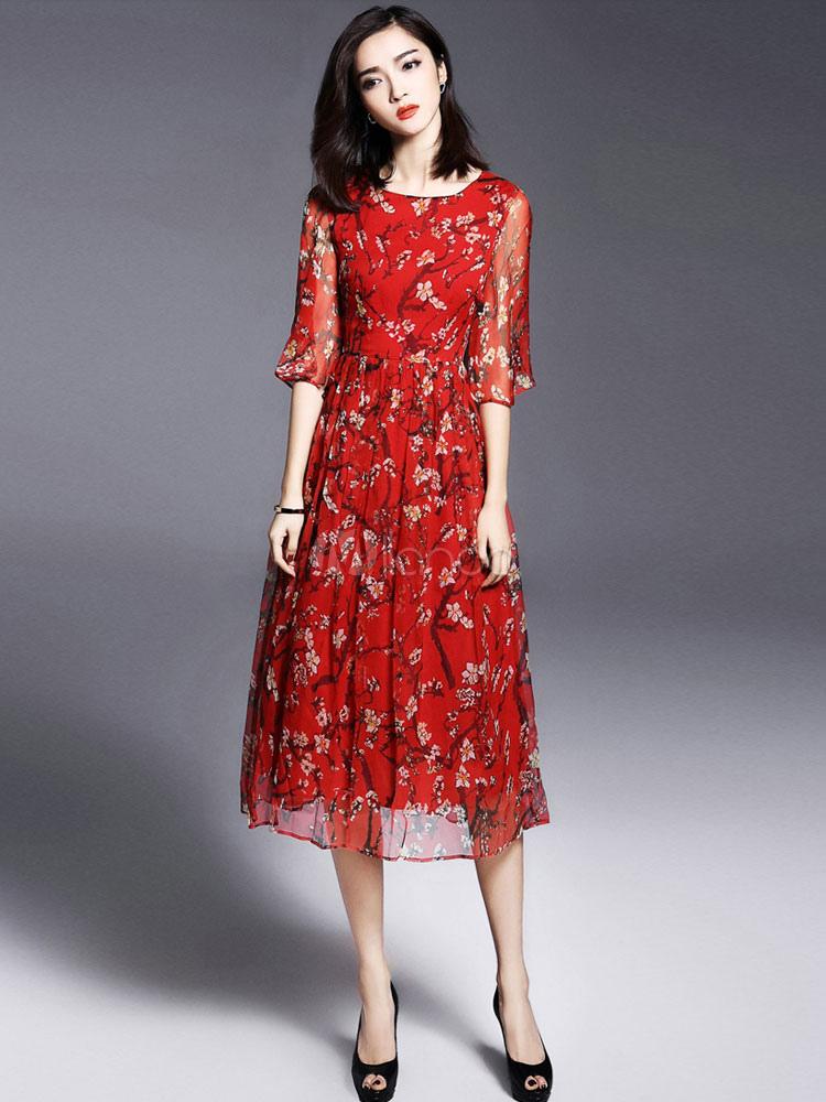 Floral Print Dress Red Tea-Length Chiffon Dress