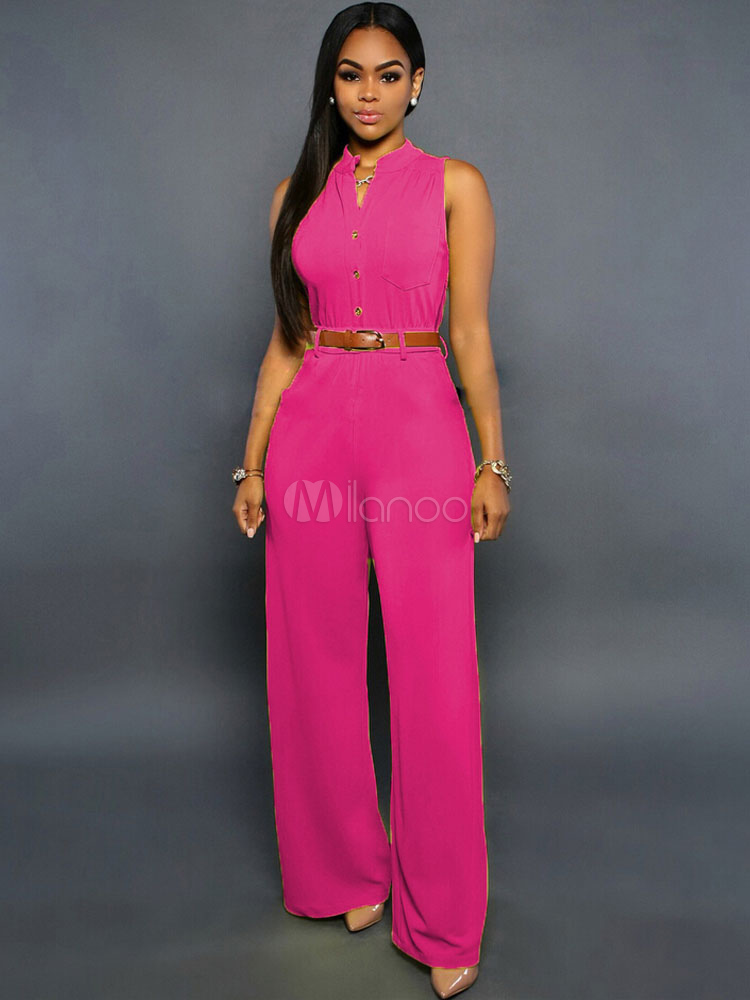 Sash Buttons Jumpsuit Rose Red Polyester Jumpsuit for Women Cheap clothes, free shipping worldwide