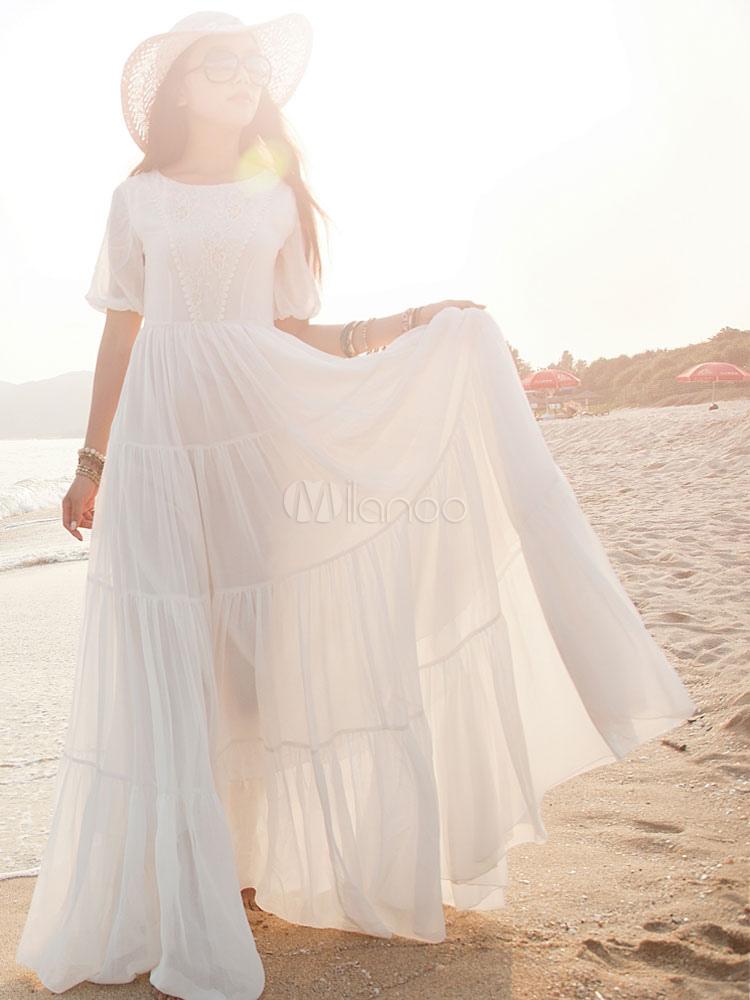 White Maxi Dress Short Sleeves Chiffon Dress