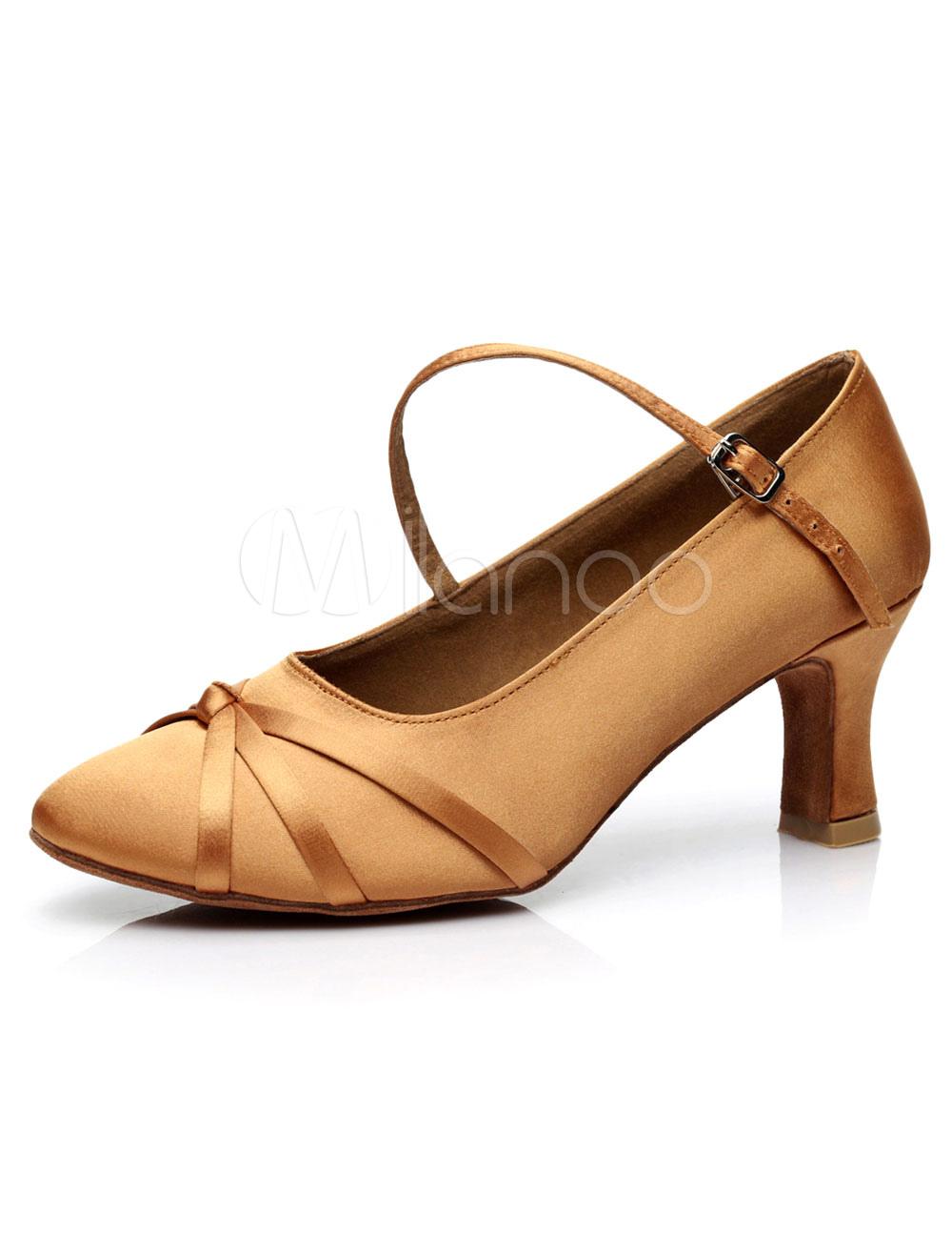 Light Brown Dance Pumps Satin Heels for Women