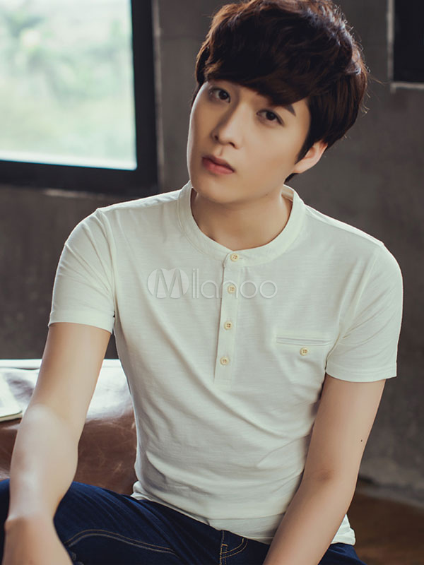 Camiseta Algodón Blanca Casual Botones Para Hombres qSMVpGzU