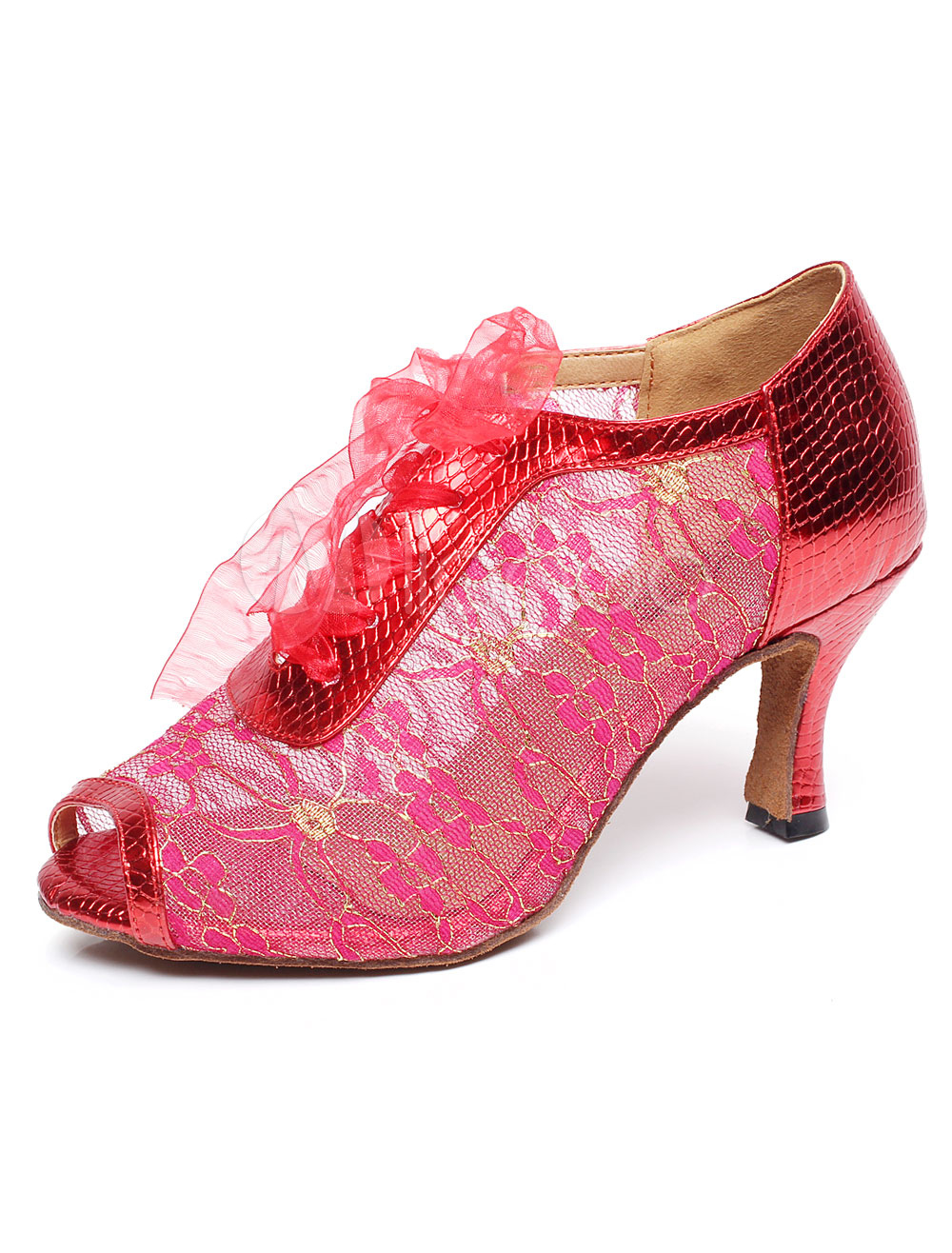 Buy Peep Toe Latin Dance Heels Multicolor Mesh Lace Up Shoes for Women for $24.49 in Milanoo store