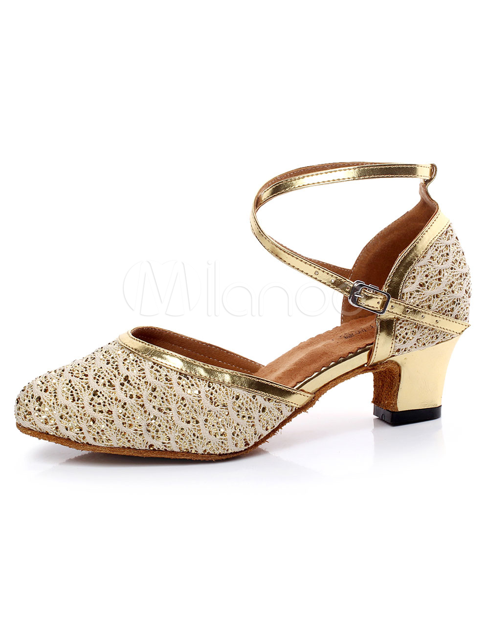 Latin Dance Sandals Gold Straps Glitter Heels for Women