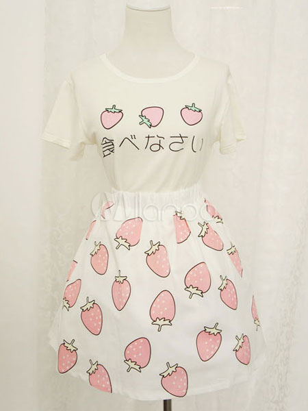 Print Lolita Skirt Multicolor Chic Cotton Skirt