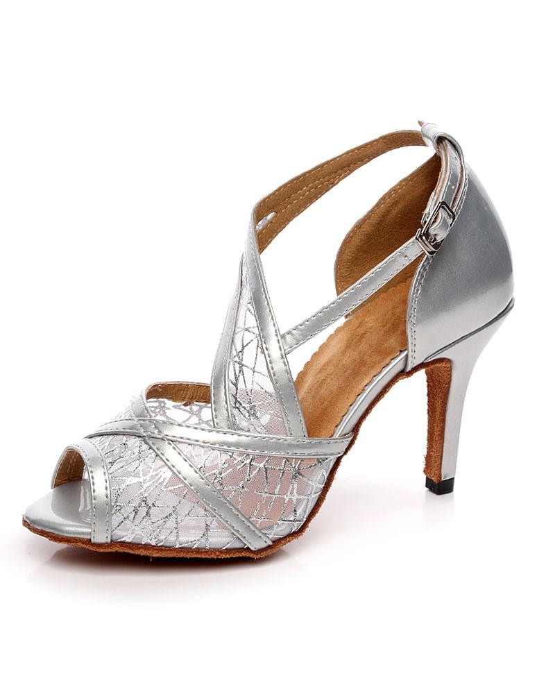 Silver Ballroom Shoes Peep Toe Mesh High Heel Dance Shoes Latin Dancing Shoes For Women