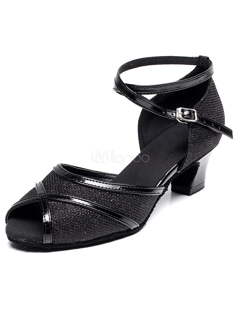 Peep Toe Latin Dance Sandals Black Straps Glitter Heels for Women