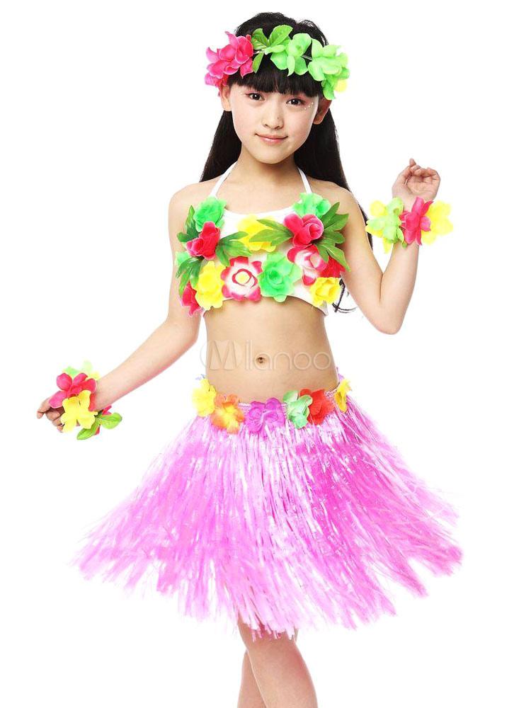 Baile hawaiano traje traje de niños plástico Multicolor - Milanoo.com
