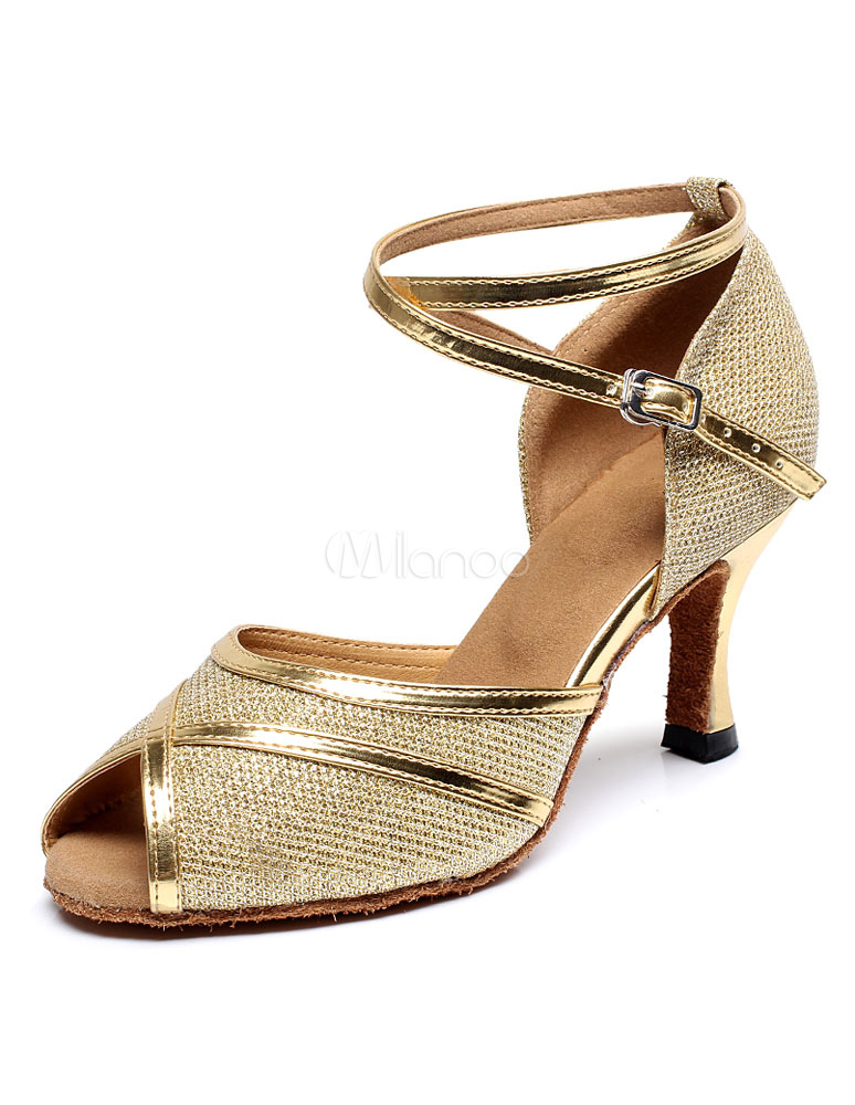 Milanoo / Peep Toe Latin Dance Sandals Gold Straps Glitter Heels for Women