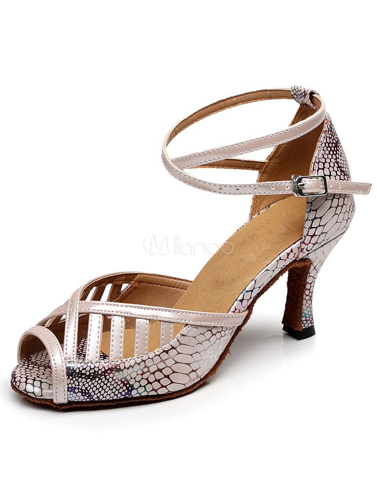 Peep Toe Latin Dance Sandals Apricot Straps PU Heels for Women