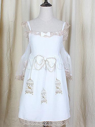 Straps Lolita Dress Bow Print White Chiffon Dress