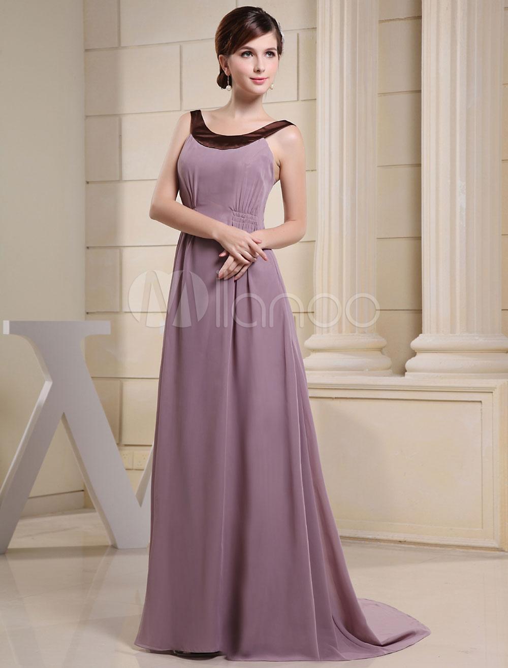 403e4589017 Lavender Evening Dress Jewel Neckline Elastic Pleated Court Train ...