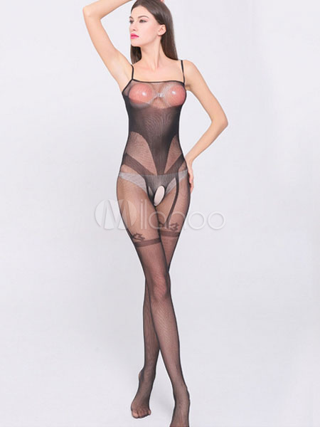Black Jacquard Body Stockings Straps Semi-Sheer Spandex Stockings for Women