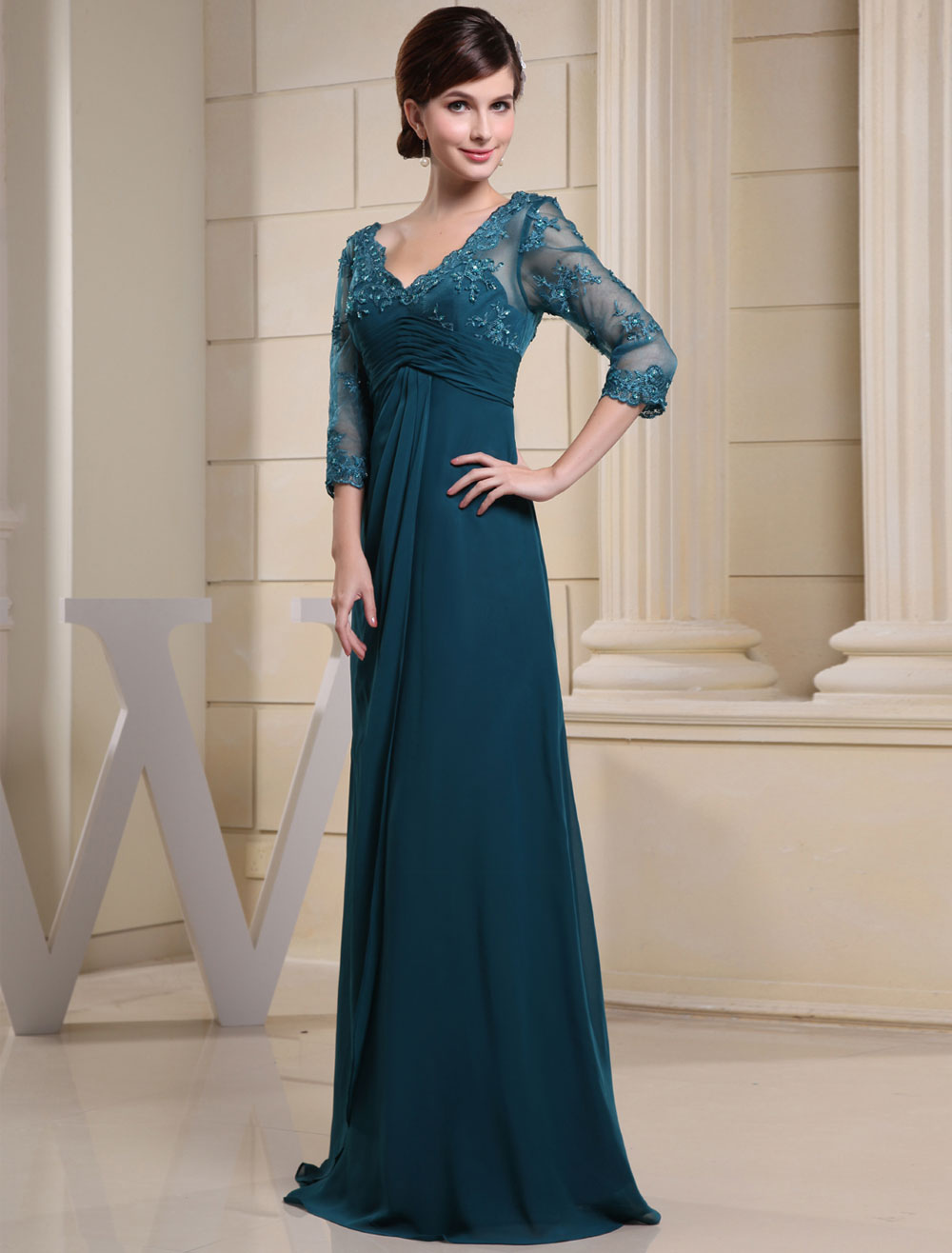 Ink Blue Evening Dress Lace Applique Beading V Neck Half Sleeves A Line Wedding Party Dress