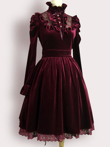 Burgundy Lolita Dress Ruffles Velvet Dress