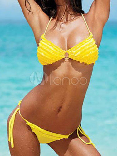 venta caliente online 22e26 ead8d Sexy Bikinis 2019 amarillo Halter ajustado encaje traje de baño de Spandex  para mujeres