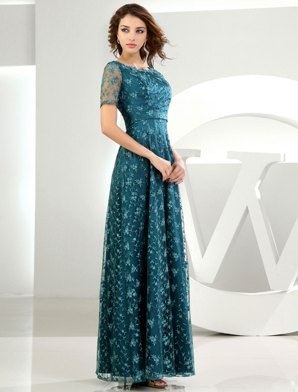 Lace Mother-of-the-Bride Dress Dark Green Short Sleeves Floor-Length ...