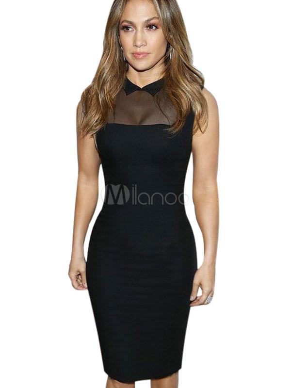 Buy Mesh Bodycon Dress Black Spandex Dress for $35.99 in Milanoo store