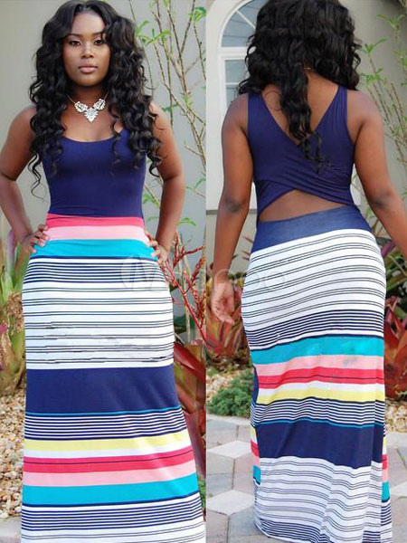 Stripes Print Maxi Dress Multicolor Backless Cut Out Dress