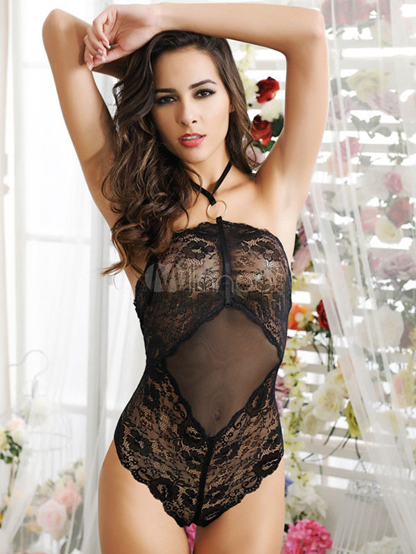 Buy Backless Babydoll Black Halter Lace Up Cut Out Spandex Chemise for Women for $13.59 in Milanoo store