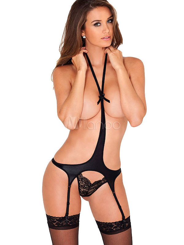 Buy Halter Teddies Black Backless Spandex Garter Belts for Women for $15.19 in Milanoo store