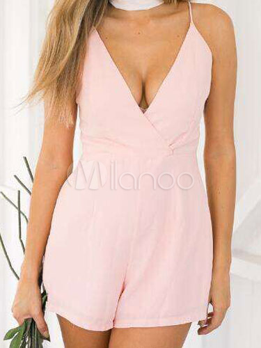 Buy Pink Romper Straps Backless Cotton Flax Romper for Women for $19.48 in Milanoo store