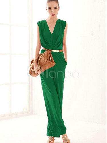Purple Jumpsuit Wide Leg Deep-V Cotton Jumpsuit for Women Cheap clothes, free shipping worldwide