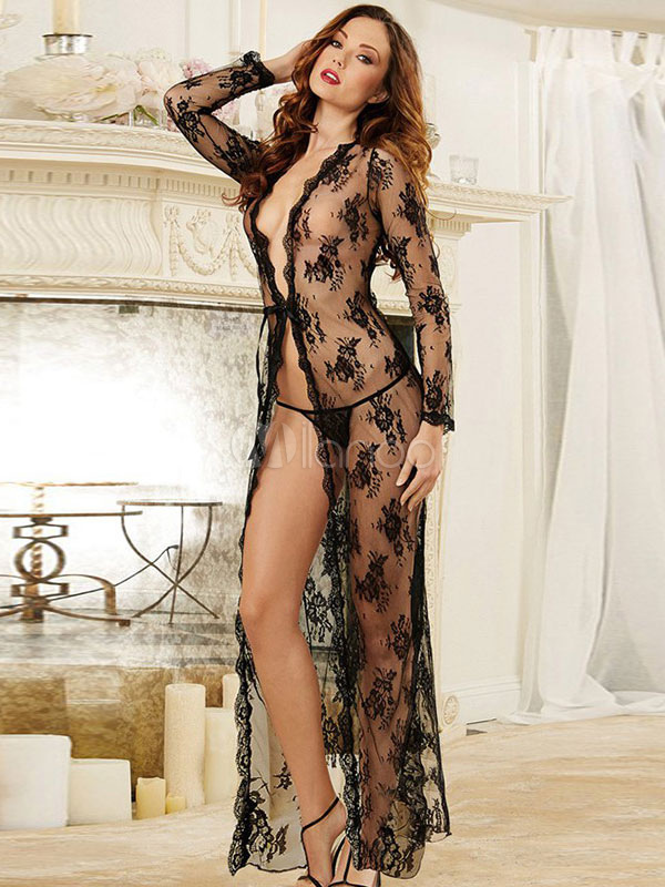Buy Black Semi-Sheer Chemise Lace Polyester Sexy Dress for $20.17 in Milanoo store