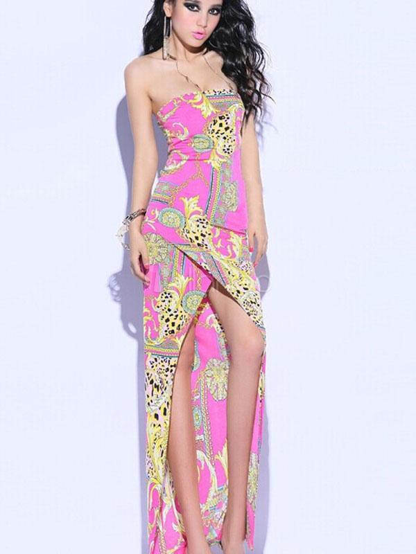 Multicolor Maxi vestido Strapless Split algodón impresión frente ...