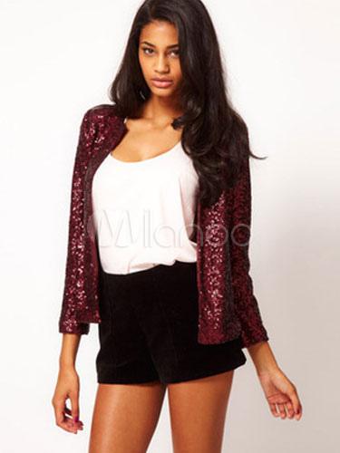 mejor nuevo autentico chic clásico Chaqueta roja lentejuelas Slim Fit algodón chaqueta para las mujeres