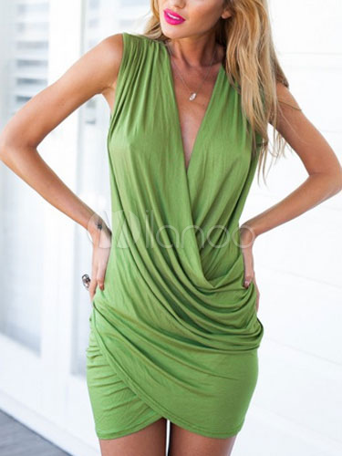 Wrap Front Bodycon Dress Green Low Cut Ruched Polyester Mini Dress