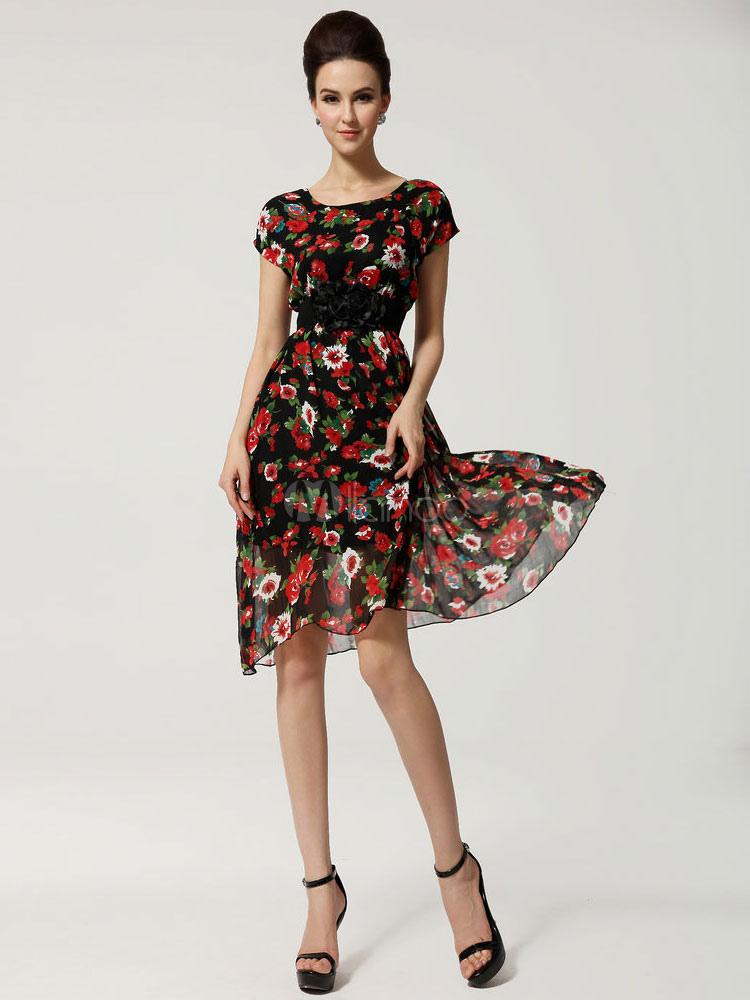99e48f86b6f4 Multicolor Maxi vestido vestido gasa estampado Floral moda