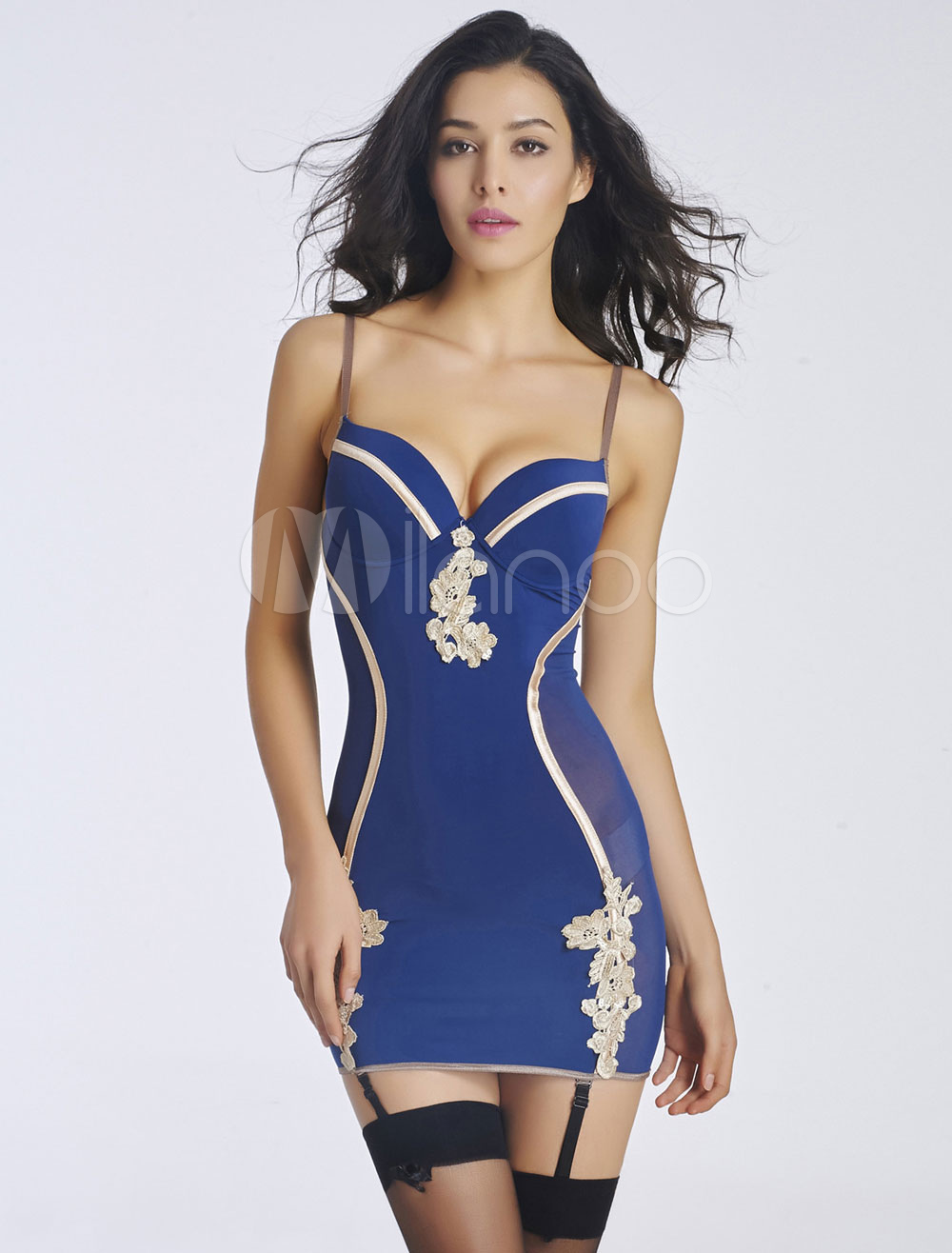 Blue Straps Chemis Embroidered Backless Chemise For Women