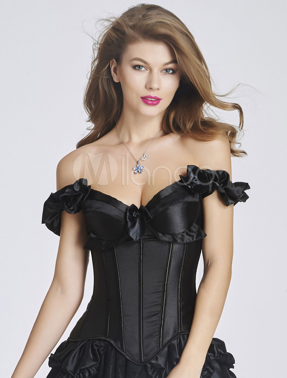 Black Off-The-Shoulder Corsets Ruffles Bow Bustier For Women