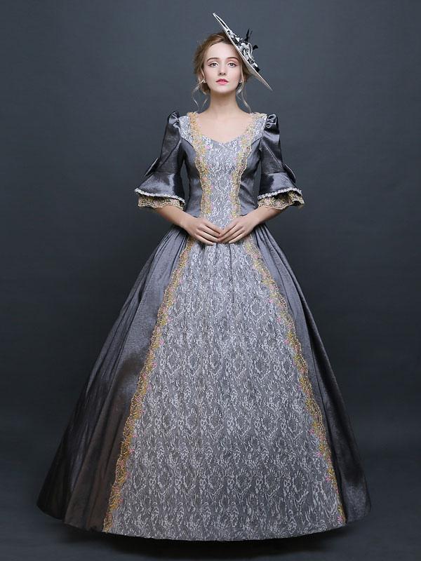 Women\'s Retro Costume Gray Victorian Satin Ball Gown Princess ...
