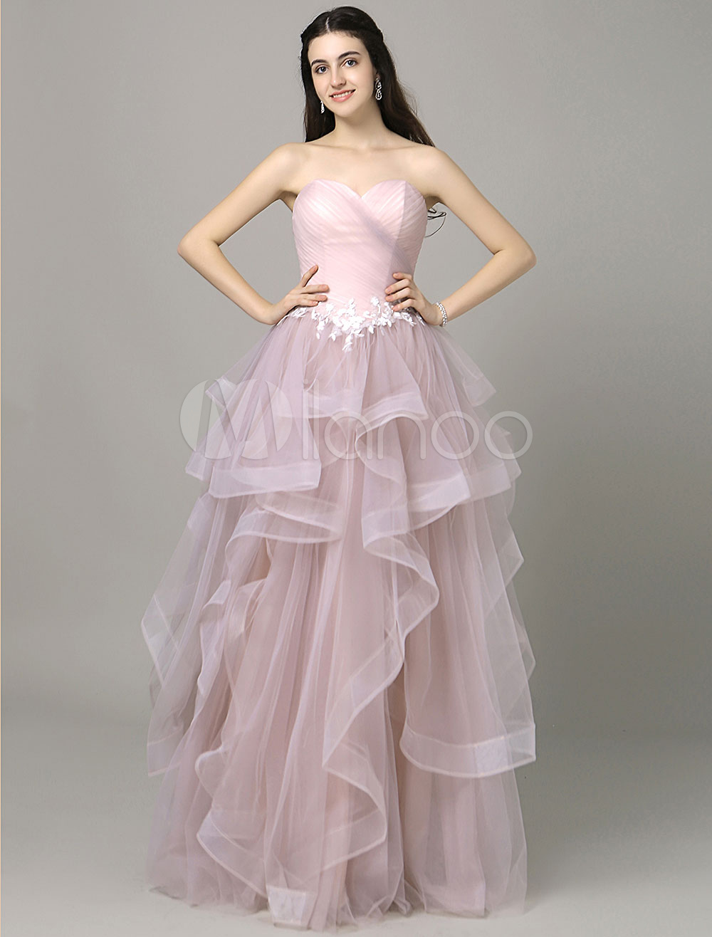 Pink Prom Dress Sweetheart Pleated Strapless Tiered Tulle Floor-Length A-Line Quinceanera Dress