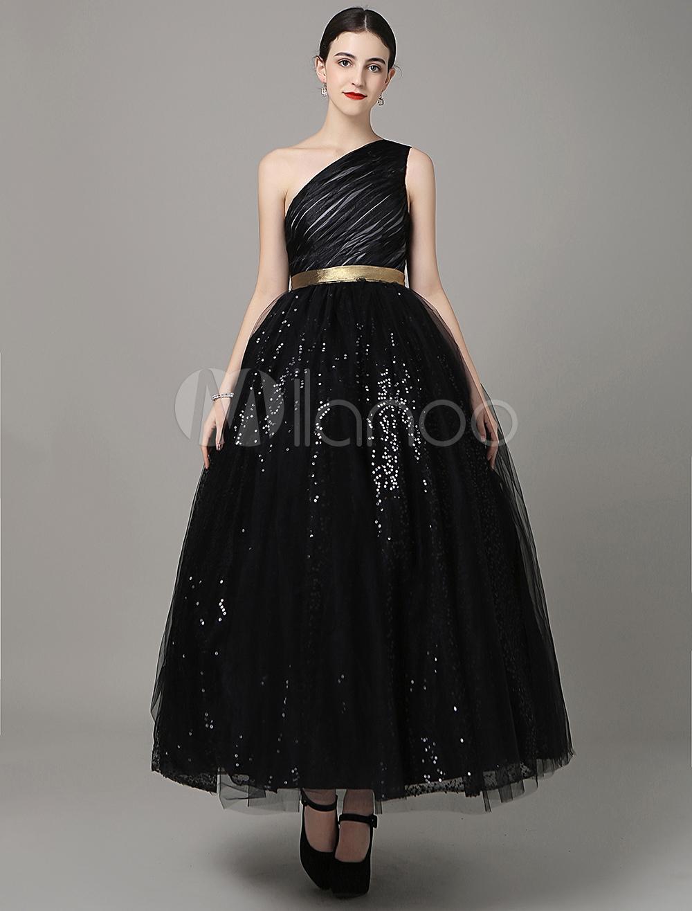 Black Prom Dresses 2018 Long One Shoulder Sequins Evening Dress Asymmetrical Satin Sash Prom Dress Milanoo