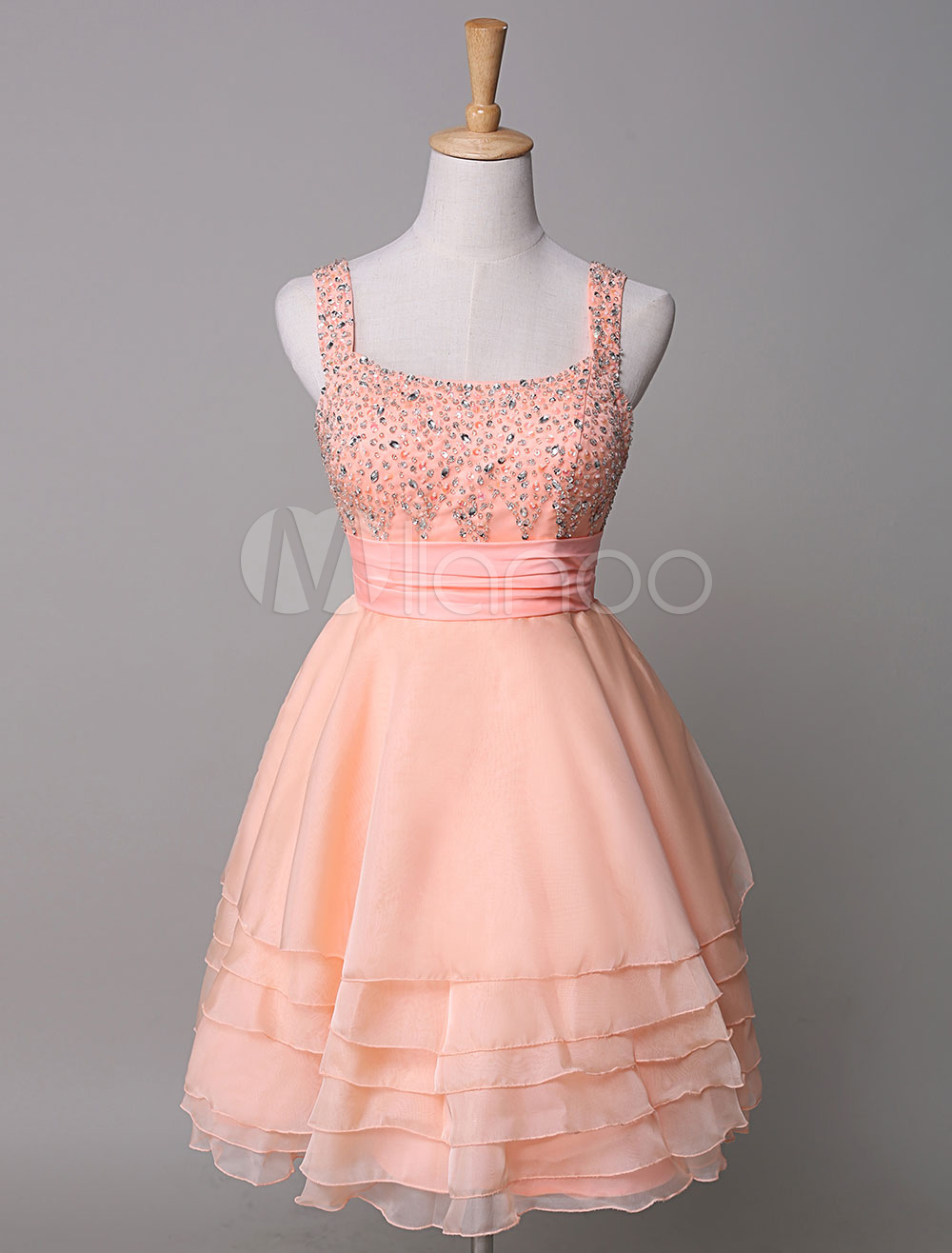 Peach Prom Dress Beading Backless Straps Tiered Chiffon A Line Short Homecoming Dress