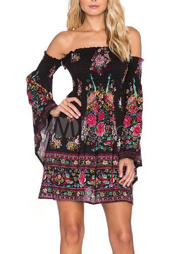 Black Off-The-Shoulder Dress Floral Print Summer Dress
