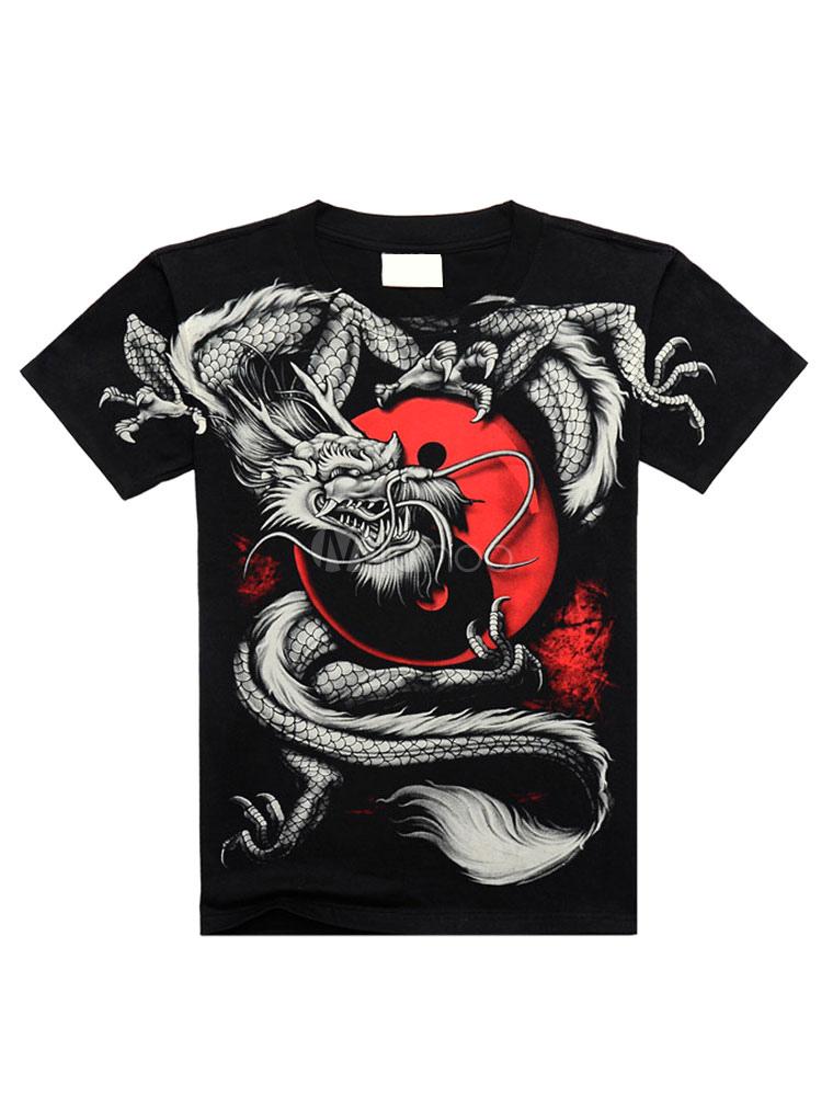 Black T-Shirt Chic Print Cotton T-Shirt for Men