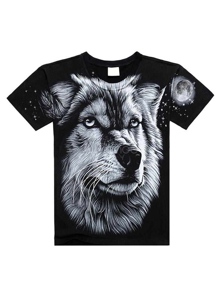 Black Men T Shirt 3D Print Animal Cotton Top Short Sleeve Casual T Shirt