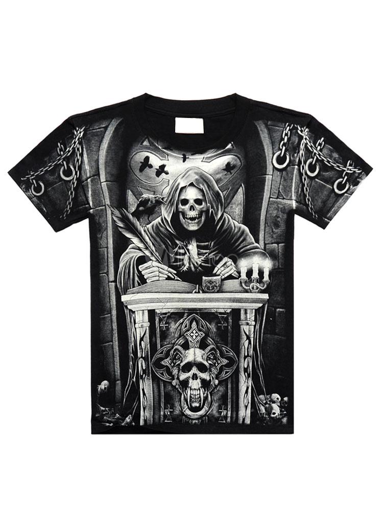 Black T-Shirt Skull Demon Print Cotton T-Shirt for Men