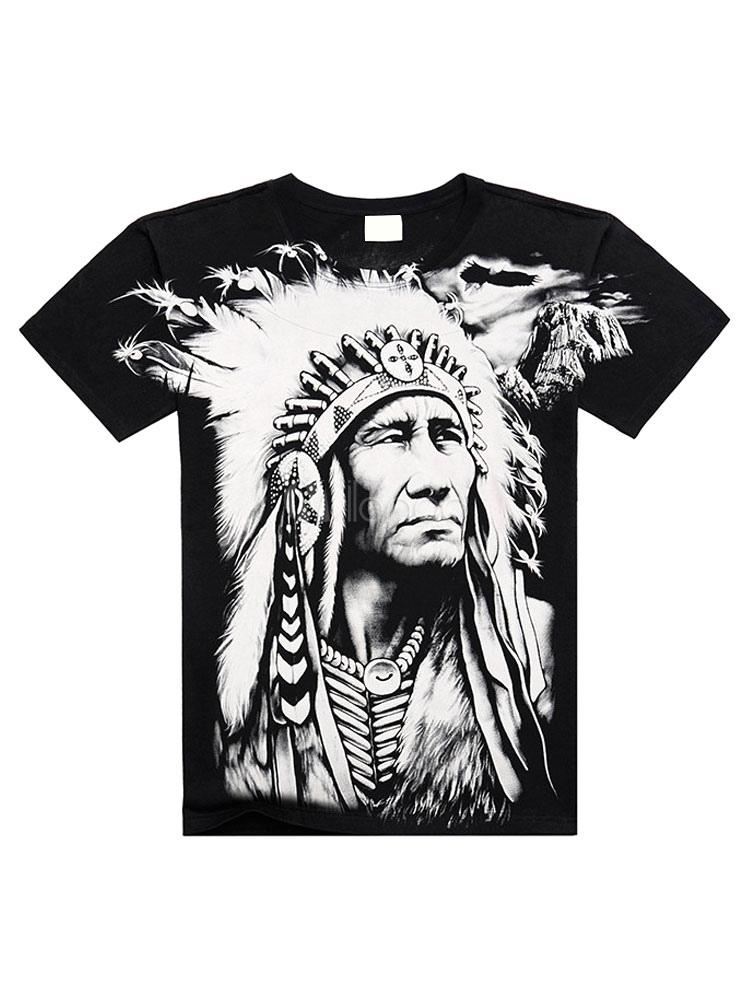 Black T-Shirt Indian Print Cotton T-Shirt for Men