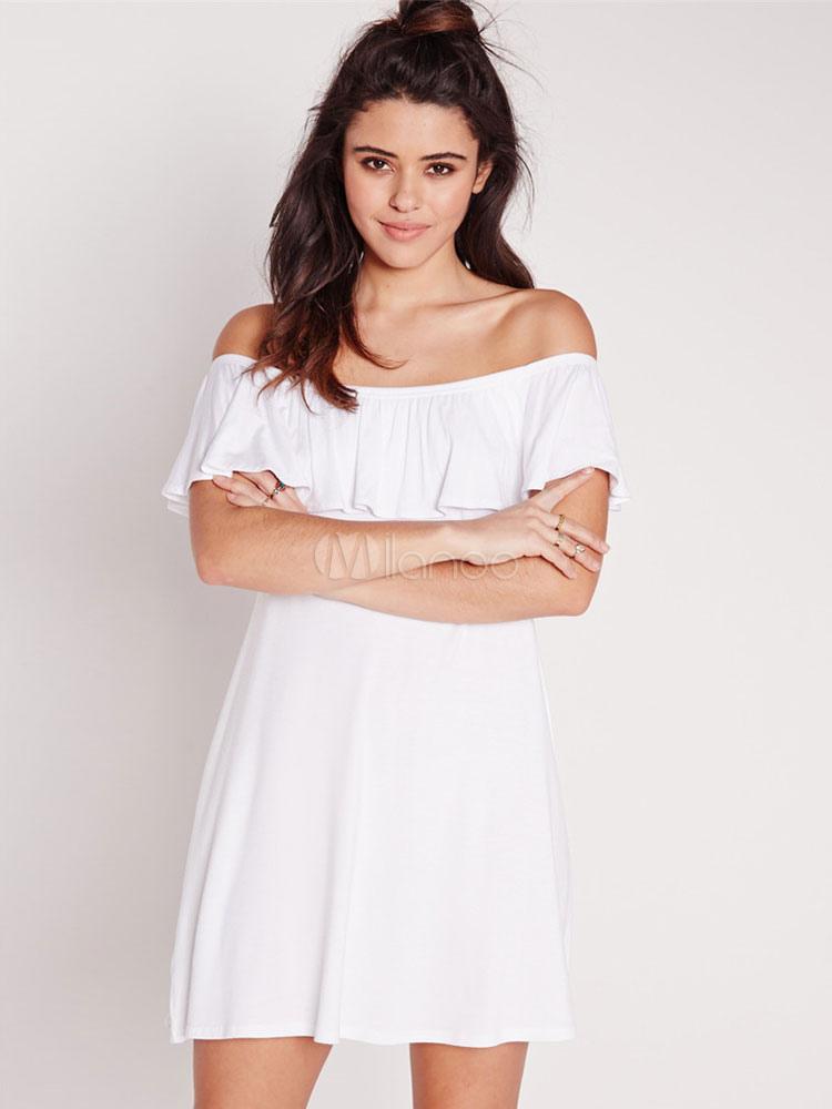 a82efff5be8b Off-The-Shoulder Shift Dress White Ruffles Acetate Dress - Milanoo.com
