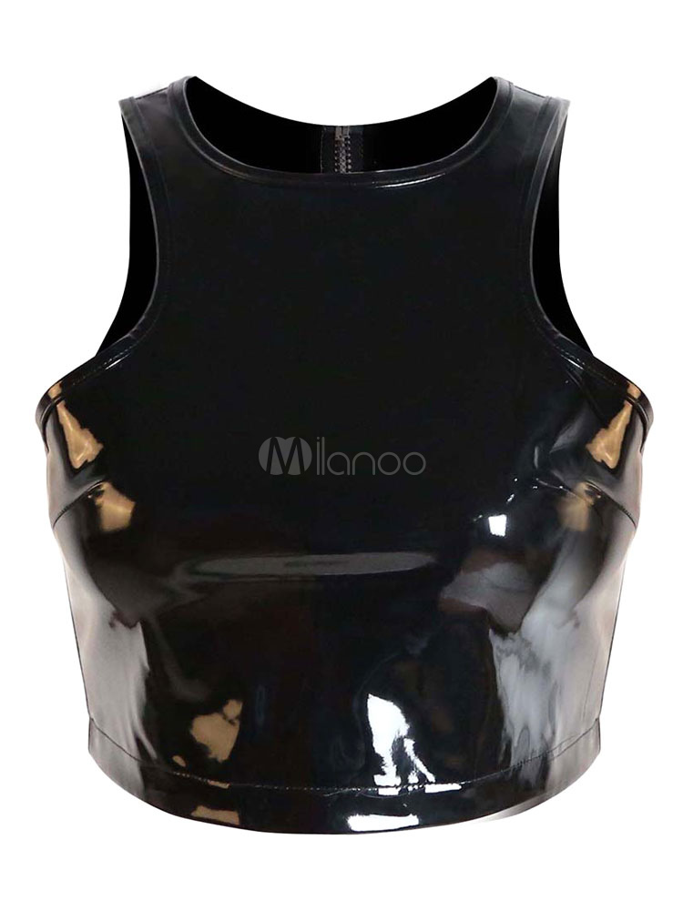 Black Top PVC Clubwear Camis for Women Cheap clothes, free shipping worldwide