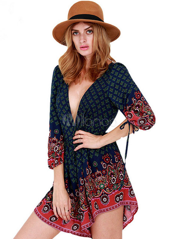 Buy Backless Romper Multicolor Low-Cut Print Cotton Romper for $26.99 in Milanoo store