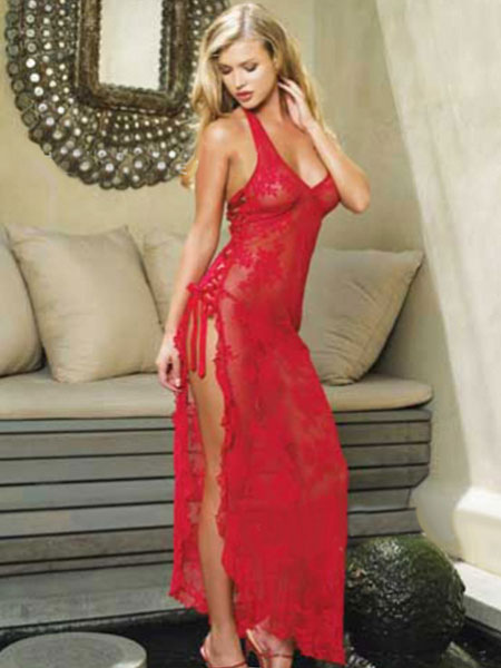 Halloween Straps Babydoll Red High Split Lace Polyester Cheongsam Chemise for Women Halloween