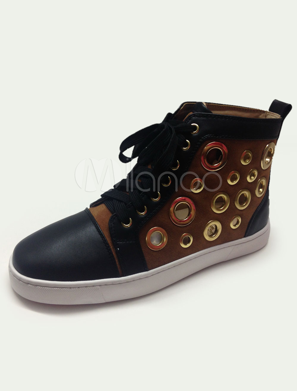 Cut Out Sneakers Multicolor Stud Lace Up Metal Details Leather Sneakers for Men