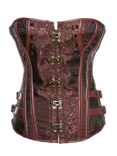 Brown Steampunk Overbust Steel Boned Corsets With Hook Closure